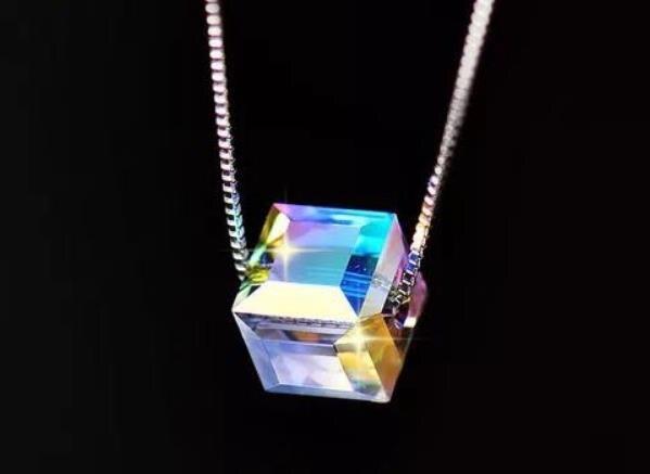 Collier en argent Sterling S925 925 pendentif cube magique charmant