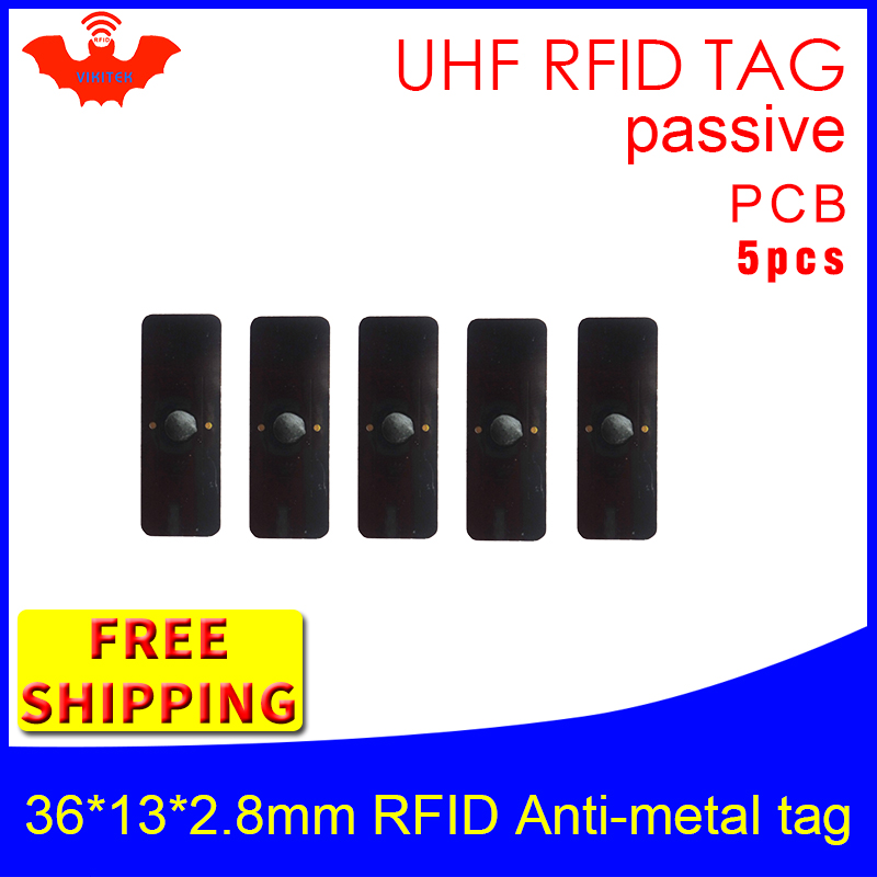 UHF RFID Metal Tag 915mhz 868mhz Alien Higgs3 EPC 5pcs Free Shipping 36*13*2.8mm Small Rectangle PCB Smart Passive RFID Tags