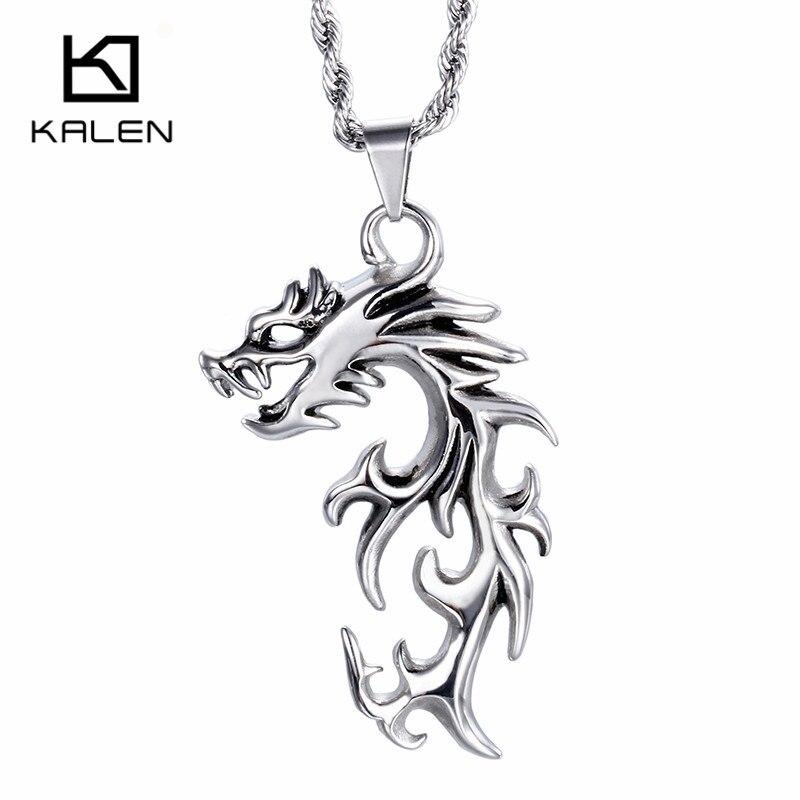 ᗐKalen joyería punky marca de acero inoxidable dragón colgante alto ...