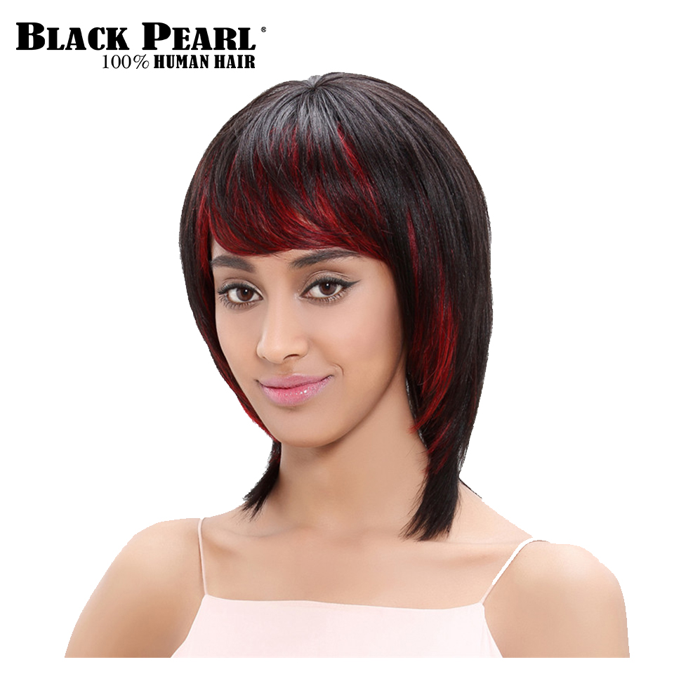 Black Pearl Brazilian Hair Short Straight Black Red Human Hair Wigs For Black Women Fashion Party Wigs with Bangs