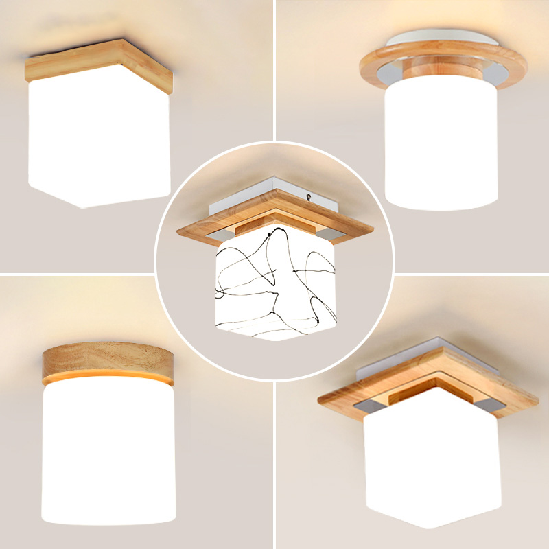 Modern LED Round Ceiling Light Fixtures for Living Room Bedroom Wood Glass Iron Home Loft Decor Square Ceiling Lamp Lights Room chandeliers lights led lamps e27 bulbs iron ceiling fixtures glass cover american european style for living room bedroom 1031
