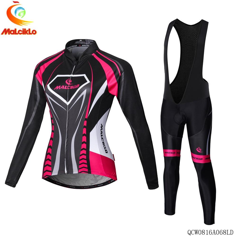Malciklo Brand <font><b>Women</b></font> 2017 High Quality Pro Fabric Thin Cycling <font><b>Jersey</b></font> Wear Long Set Ropa Ciclismo Bike Clothing Pants L027