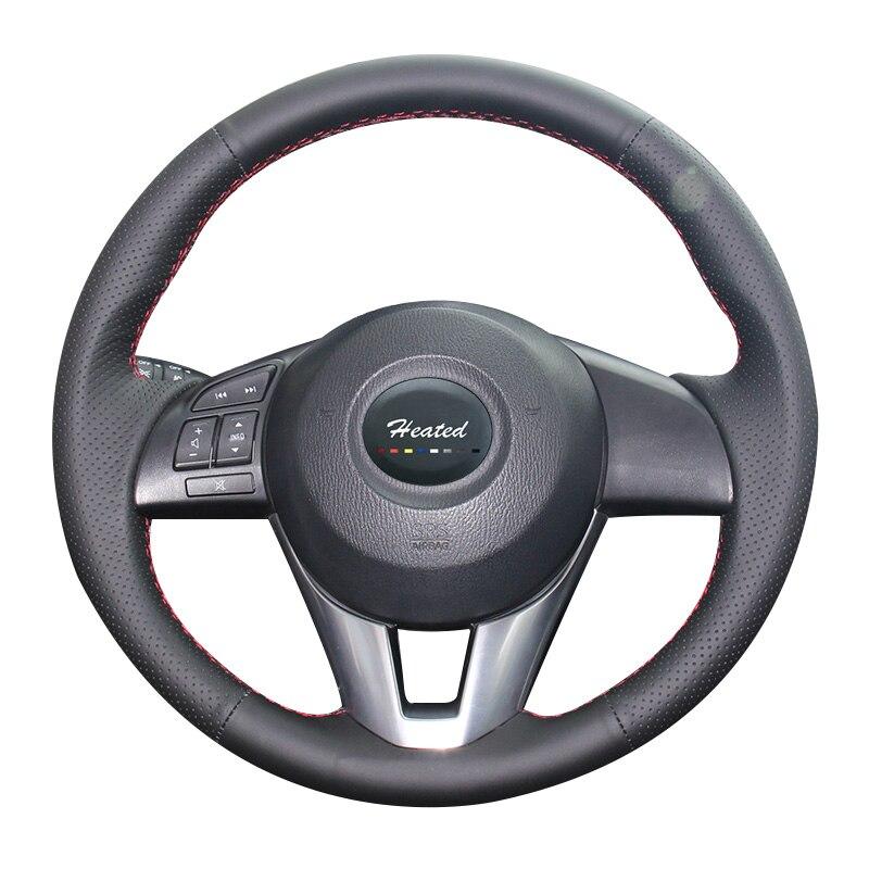 Cuir Nappa sur housse de volant de voiture pour Mazda 3 Axela 2013-2016 Mazda 6 Atenza 2014-2017 Mazda 2 2015-2017 pour Mazda cx-5