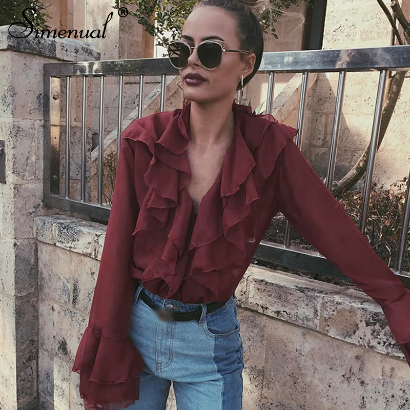 Simenual Chiffon Transparent Sexy   Blouses   V Neck Flare Long Sleeve   Blouse     Shirt   Women Vintage Ruffles Blusas Red Cardigan Tops