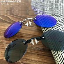 WEARKAPER Марка Дизайнер 3 Цветов Ретро Круглый Клип На Нос очки Matrix Morpheus Фильм без оправы солнцезащитные очки мужчины