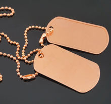 cheap Military Army Blank Pure Copper Dog Tag Set Ball Chains high quality custom metal and chains