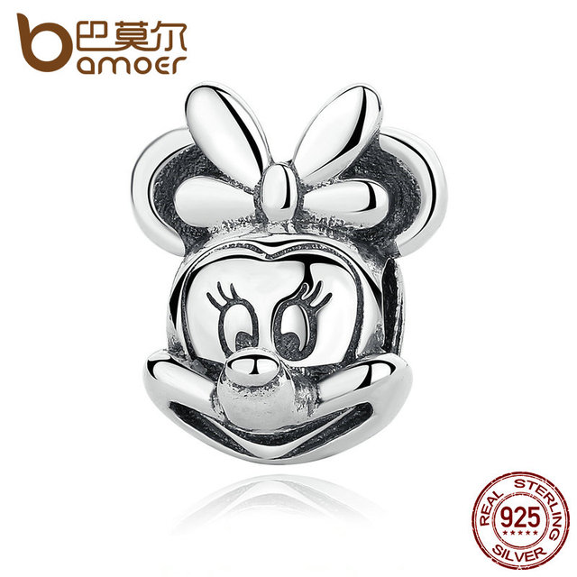 BAMOER Baby Gift 925 Sterling Silver Cartoon Portrait Beads Charms with Knot fit