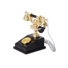 1/12 casa de muñecas miniatura Vintage Teléfono de metal modelo escritorio muñecas de decoración casa giratorio Dial victoriano estilo accesorio de teléfono