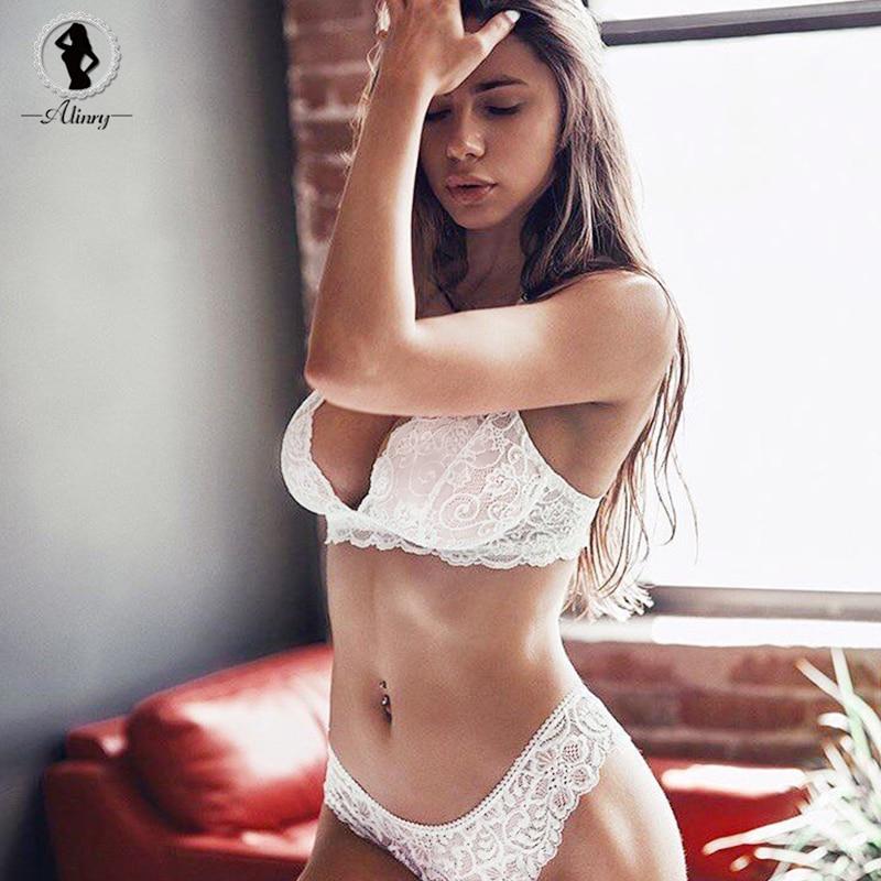 ALINRY sexy   bra     set   lace bralettes women 3/4 cup push up lingerie wire free underwear transparent intimates lenceria femenina