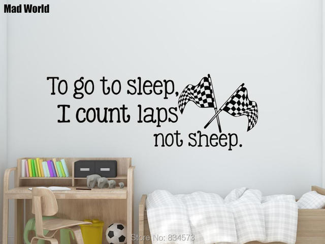 Mad World To Go To Sleep I Count Laps Not Sheep Wall Art Stickers ...