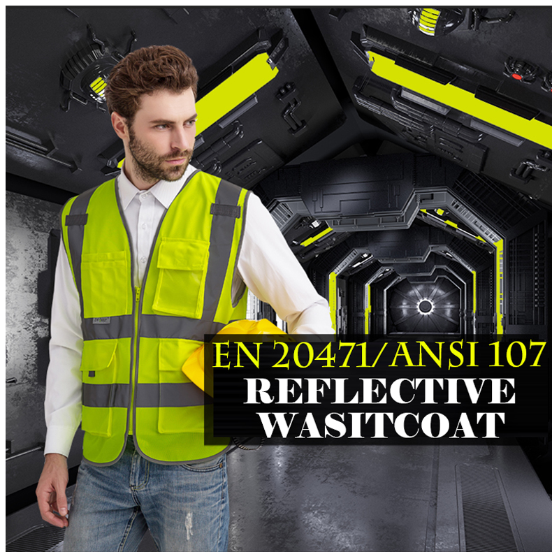 SFvest waistcoat reflective safety vests waistcoat visibility multi pockets waistcoat fluorescent yellow orange free shipping fluorescence yellow high visibility