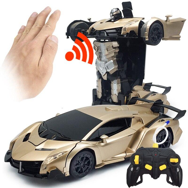 Voiture Rc Drift 2In1 contrôle automatique 4wd grande voiture Rc sur le jouet à distance Kit Transformation Robots déformation à distance sans brosse Nitro jouet