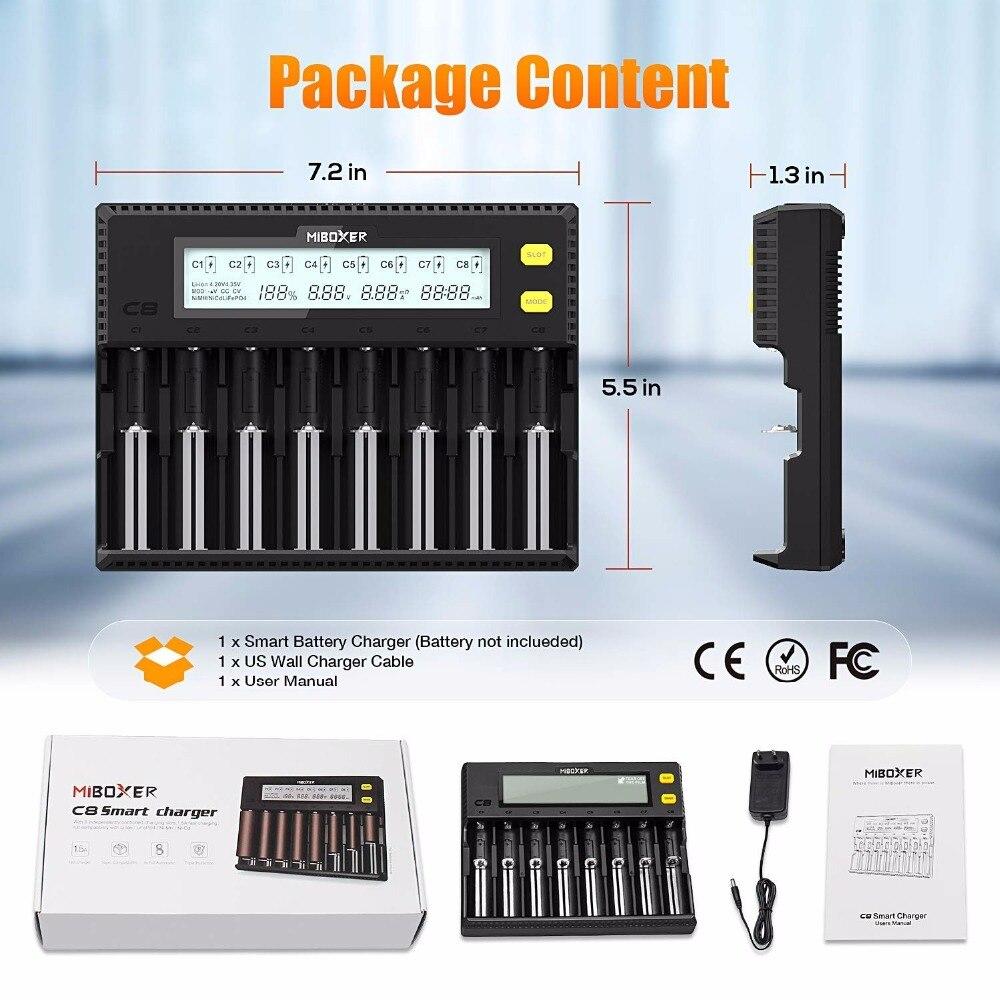 MiBOXER Chargeur De Batterie 8 Emplacements D'affichage À CRISTAUX LIQUIDES pour Li-ion LiFePO4 Ni-MH Ni-cd AAA 21700 20700 26650 18650 17670 RCR123 18700 - 4