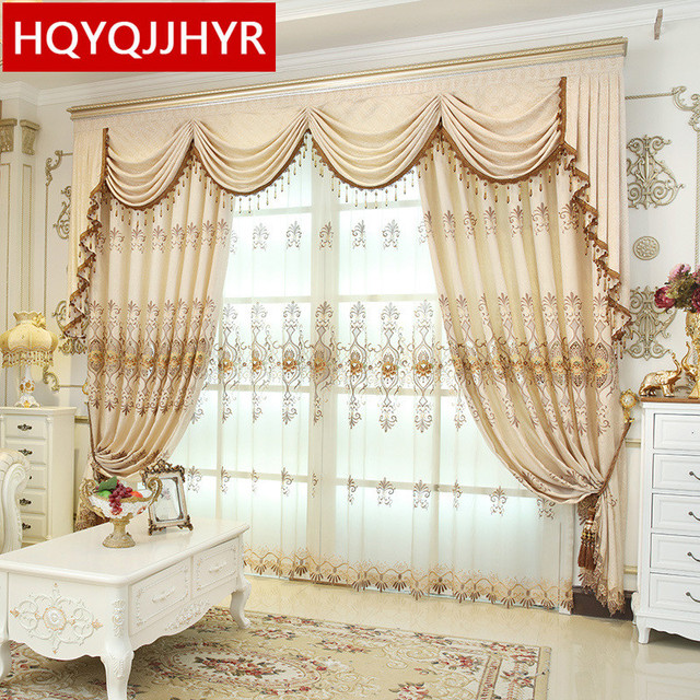 HQYQJJHYR European Luxury Embroidered Blackout Curtains For Living Room  Customized Chenille Luxury Curtains For Bedroom/ Part 89
