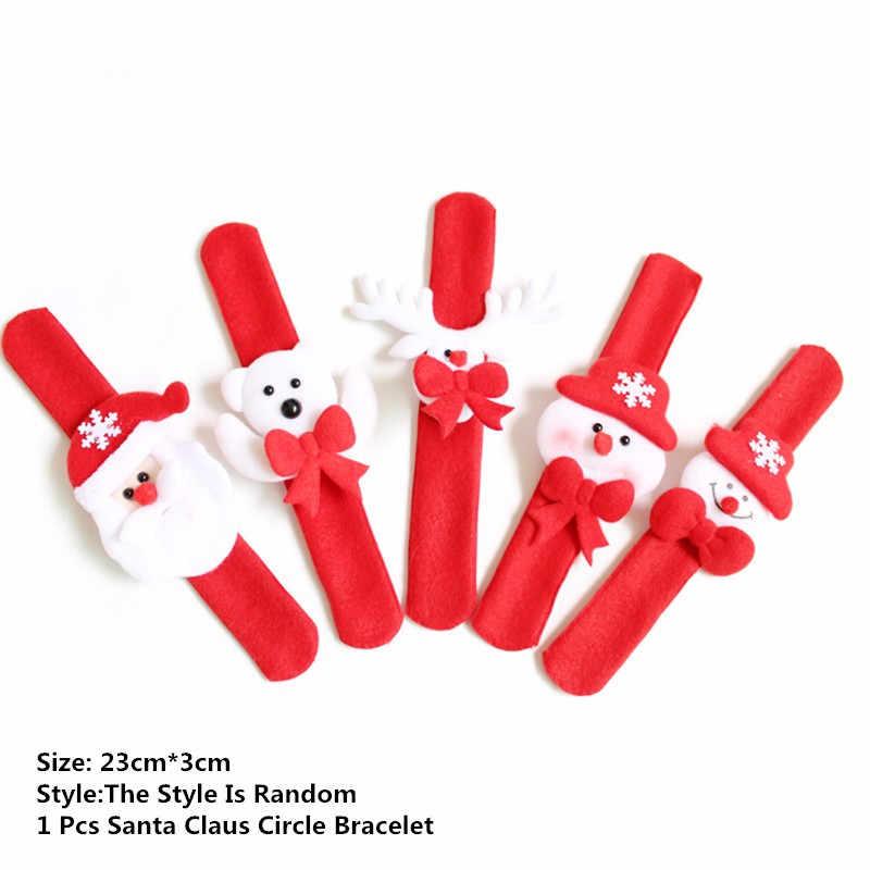 1/2/5Pcs Santa Claus Snowman New Year Xmas Christmas Patting Clap Circle Bracelet Party Wrist Decor Watch Children Gift Toy