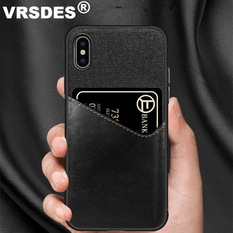 VRSDES PU Leder Harte PC Fall Für iPhone 7 8 Plus X 6 6S XS XR Fall Tuch Karte slot Abdeckung Für Samsung Galaxy S9 S8 Plus Note9 8