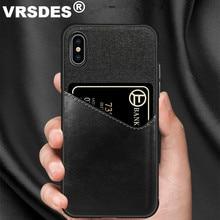 VRSDES из искусственной кожи жесткий чехол для iPhone 7 8 Plus X 6 6S XS XR чехол карточка из ткани Слот Чехол для samsung Galaxy S9 S8 Plus Note9 8