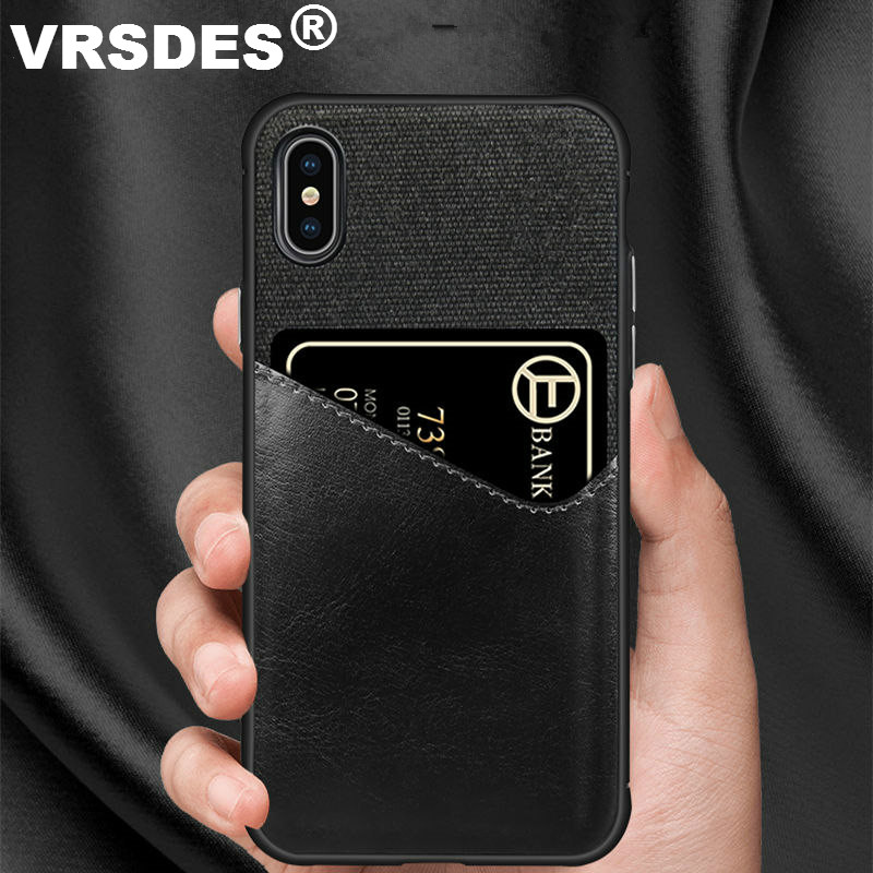 VRSDES PU Leather Hard PC Case For iPhone 7 8 Plus X 6 6S XS XR