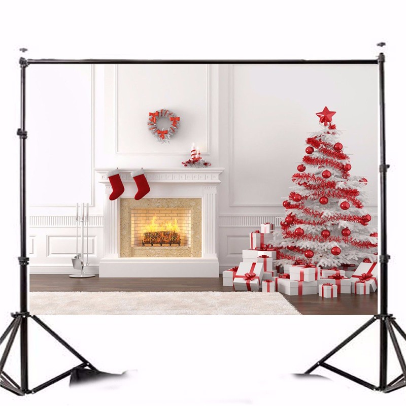 7x5ft Photography Vinyl Background Christmas Theme Tree Photographic Backdrops For Studio Photo Props 2.1x1.5m waterproof
