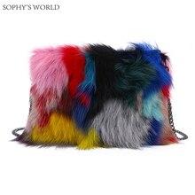 Natur fuchspelz frauen handtaschen 2017 patchwork blosa parteibeutel chians umhängetasche reißverschluss winter weiblichen handtasche crossbody tasche