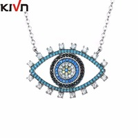 KIVN Fashion Jewelry Turkish Blue Evil Eye Pave CZ Cubic Zirconia Bridal Wedding Pendant Necklaces For
