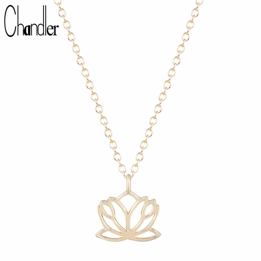 Chandler Big Promotion Gold Silver Lotus Flower Necklace & Pendant For Women Gifts Bohemia Chain Fashion Accessary Bijouterie