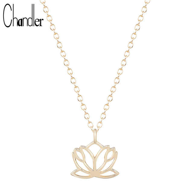 Chandler Big Promotion Gold Silver Lotus Flower Necklace Pendant