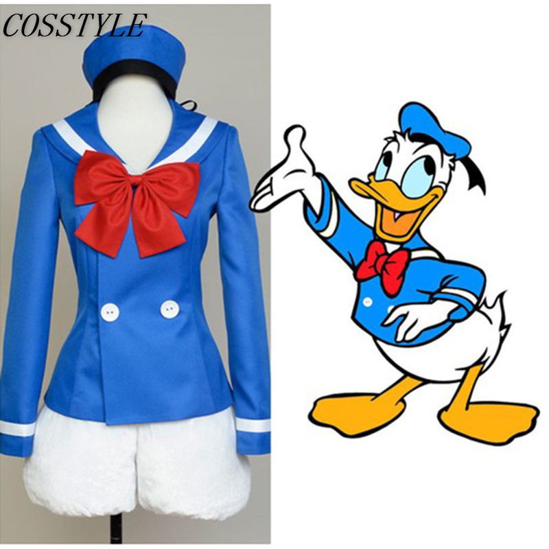 Donald Duck Cosplay Costumes Halloween Costumes for Women Cartoon Duck Costumes School Uniform Suit Full Set Custom-Made