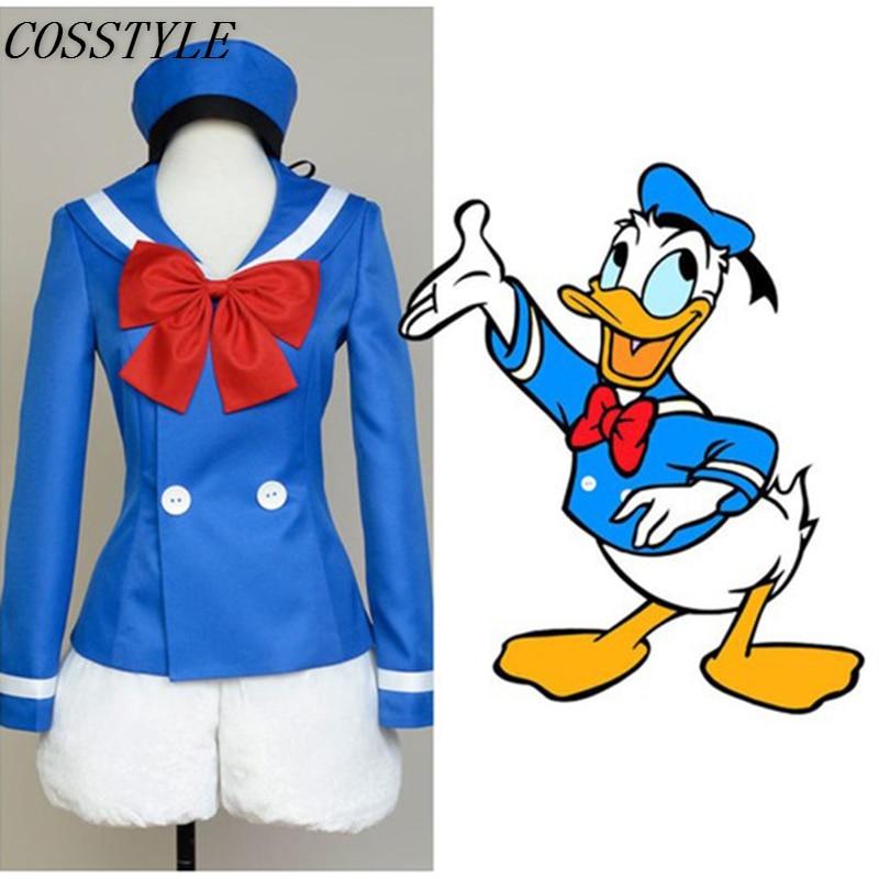 Donald Duck Cosplay Costumes Halloween Costumes for Women Cartoon Duck Costumes School Uniform Suit Full Set Custom-Made