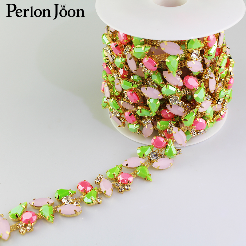 1 Yard 1 Inch Width Bright Color Resin Crystal Flower Trim Metal Chain Ribbon For Dress, Bag, Shoes Accessories ML036