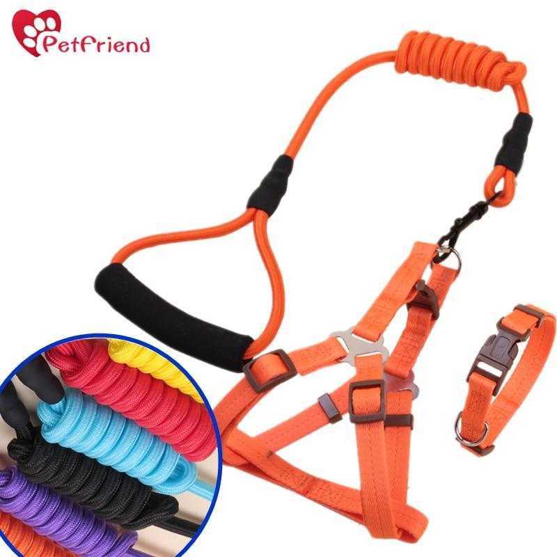 Dog Harness & Leash Set Nylon Straps Anti-Twist Leash on Spin Clasp- Durable Braid Leash / Comfort Foam Handle/ Bright Colors