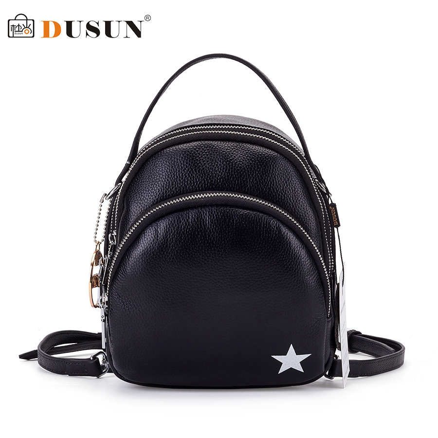 DUSUN 2017 Famous Brand Women Backpack Vintage Genuine Leather Double Shoulder Bag Women Leisure Black Satchel Girl Backpack leisure women s satchel with stitching and black design
