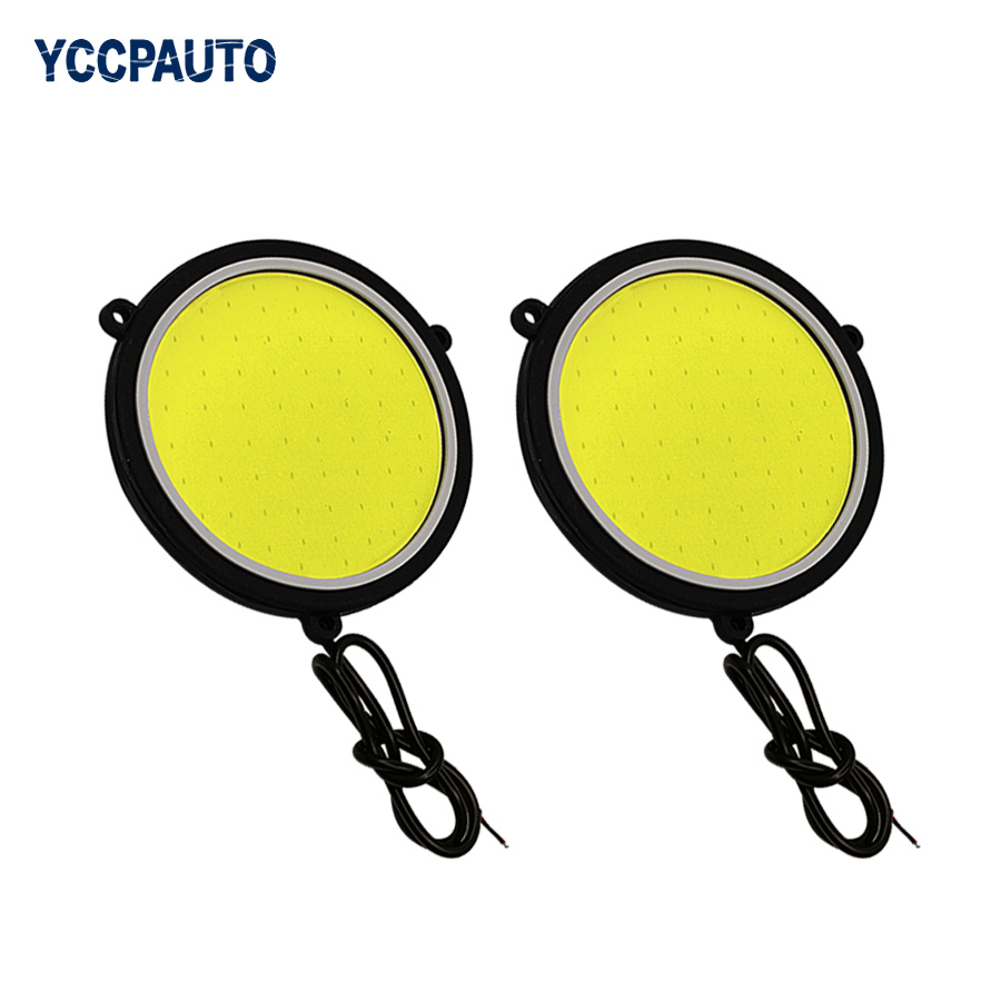 YCCPAUTO Driving-Lamp Car-Lights Daytime 12V 2pcs DRL LED Round White High-Power