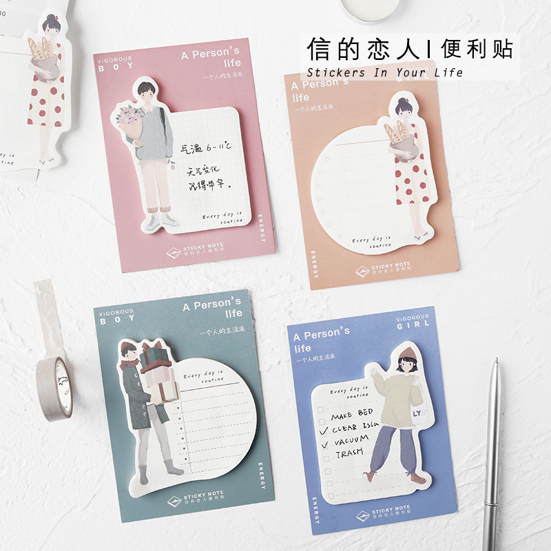 30 Sheets/pad Young Boys Girls Sticky Note Kawaii Memo Pad Planner Stickers Marker Stationery Office School Supplies