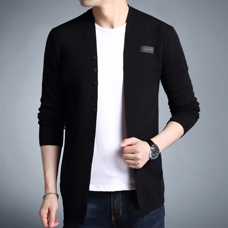 2018 New Sweater Men High Quality Casual Solid Knitted Cardigan Slim Fit Clothes Pull Homme Autumn Men's Sweater