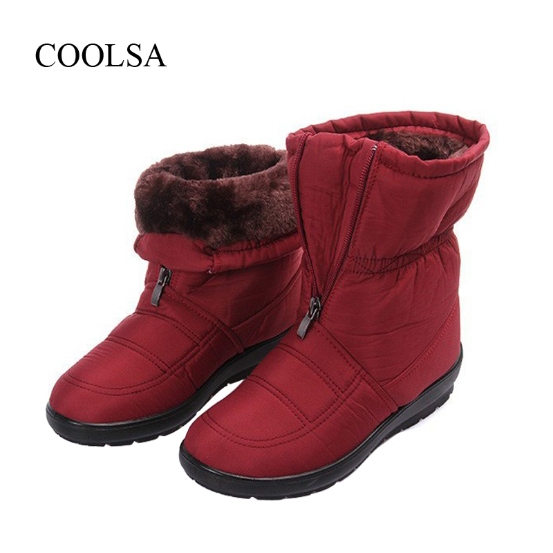 COOLSA Brand Snow Boots Winter Warm Non-slip Waterproof Women Boots Mother Shoes Casual Cotton Winter Autumn Boots Female Shoes цена и фото