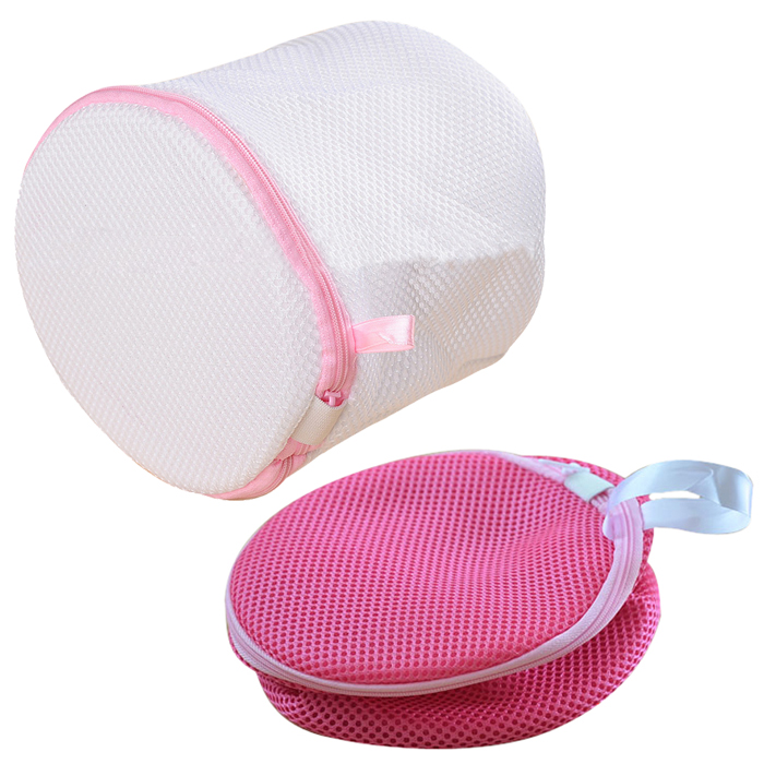 Pack of 2 Bra Wash Laundry Portable Mesh Bag with Plastic Frame Construction