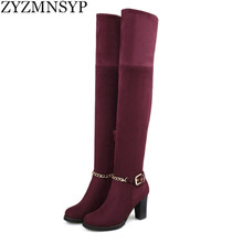 ZYZMNSYP Nubuck Stretch over the knee boots Ladies autumn winter women womens female fashion shoes woman thigh high riding boots
