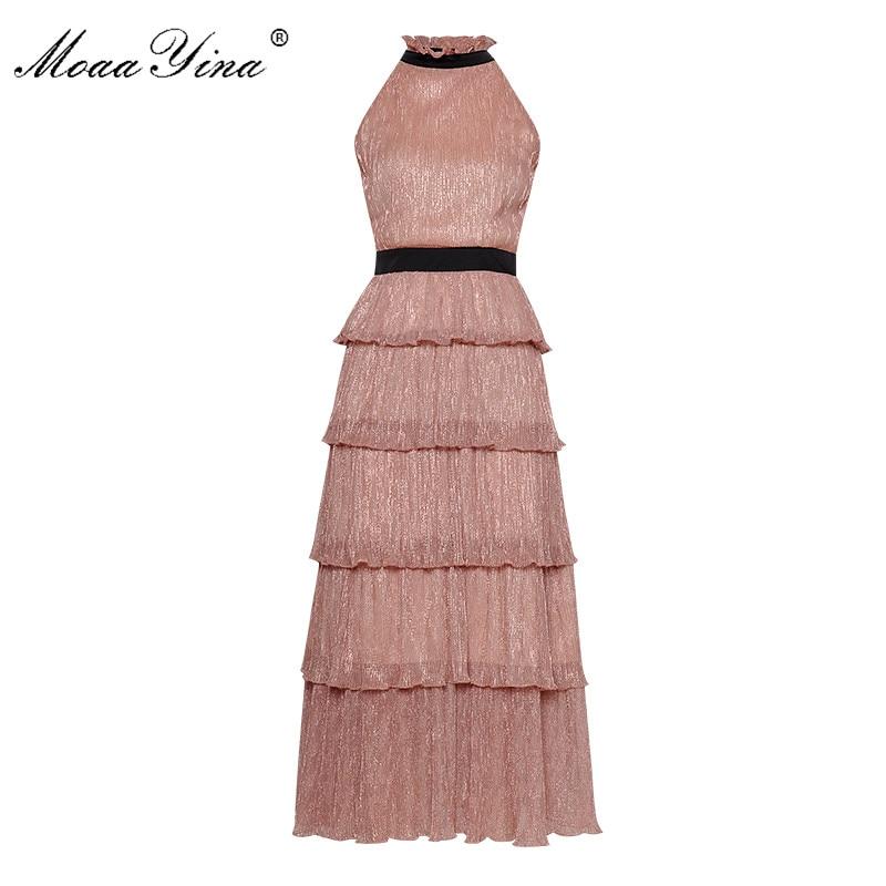 MoaaYina mode Designer robe de piste d'été femmes à volants col à lacets maille Lurex fêtes élégant robe de gâteau
