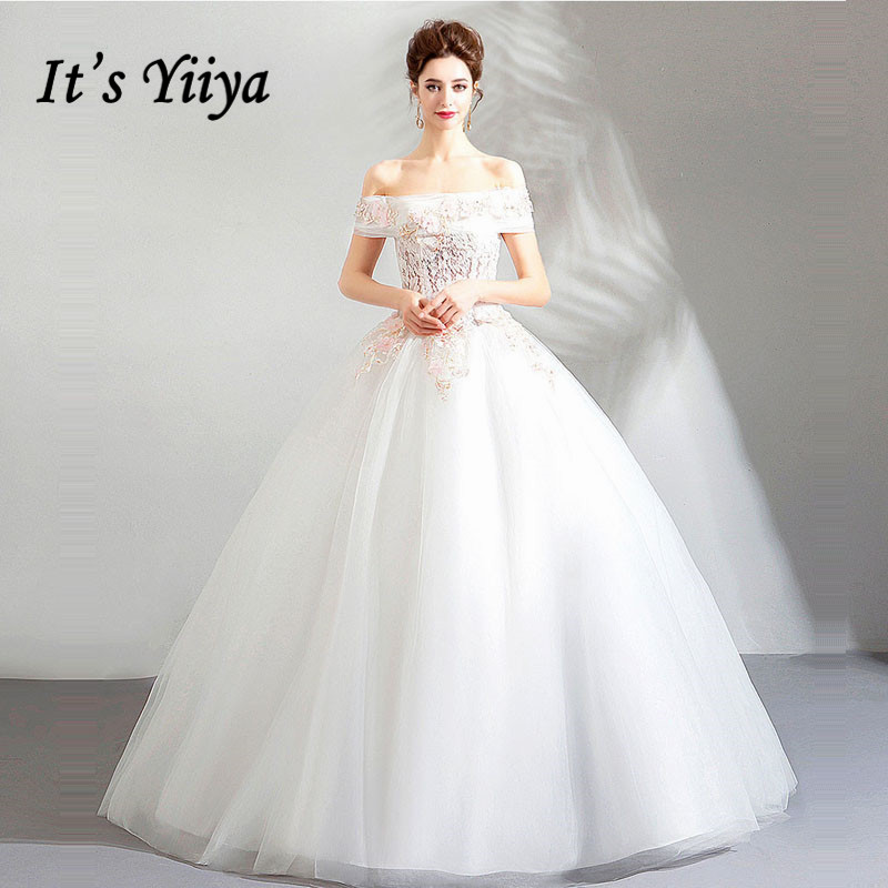 It's YiiYa Wedding Dress Lace Illusion White Boat Neck Floral Bride Ball Gowns Floor length Lace up LX1156 vestido de noiva