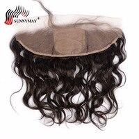 Sunnymay Шёлковые подкладки спереди натуральный волна бразильский девственные волосы 13x4 Шелковый топ кружева фронтальной с ребенком волос пре