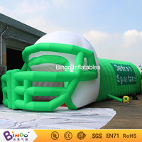 Free Delivery white and green Inflatable helmet and tunnel tent high quality blow up helmet tunnel for toy tents
