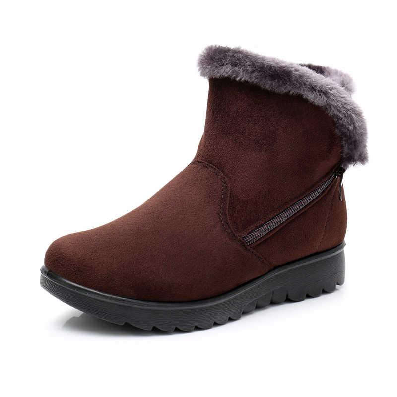 2019 kadın moda Zip kış kar botları bayan sıcak kürk süet kama bileğe kadar bot kadın artı boyutu 35-43 kadın ayakkabı