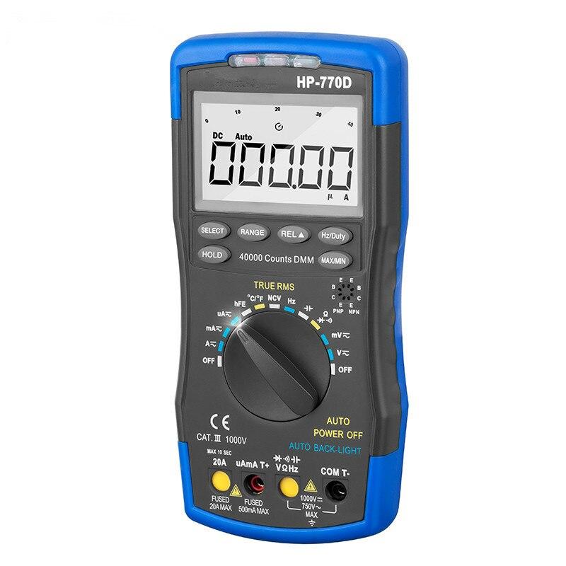 Hot Sale Original Handheld High Precision Accuracy Multimetro Digital Multimeter Auto Range True Rms Hp-770d Temperature Meter