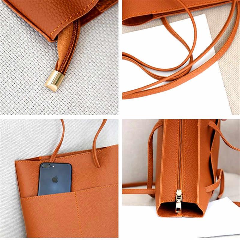 Soft Leather Women Bag Set Luxury Brand 2018 Fashion Designer Female Shoulder Bags Big Casual Bags Set Handbag High Quality
