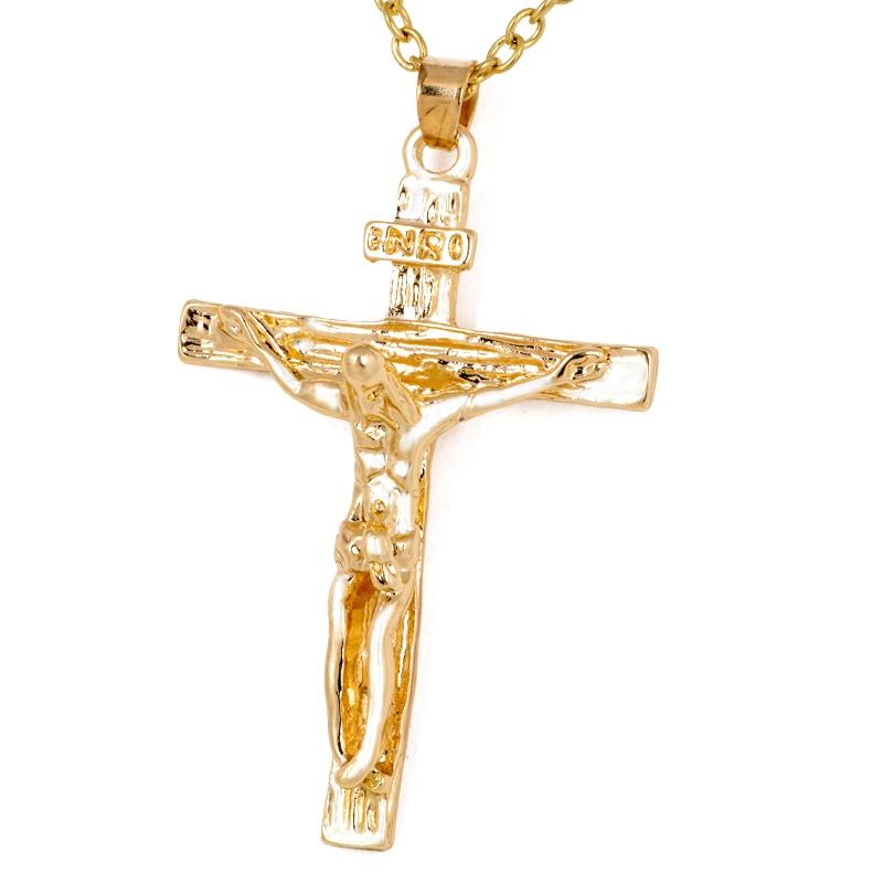 Vintage Classic Punk Statement Necklace Trendy Male Silver Gold Color Crucifix Cross Jesus Piece Necklace&Pendants Men Jewelry