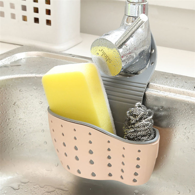 Sink Shelf Soap Sponge Drain Rack Silicone Storage Basket Bag Faucet Holder Adjustable Bathroom Holder Sink Kitchen Accessorie 2