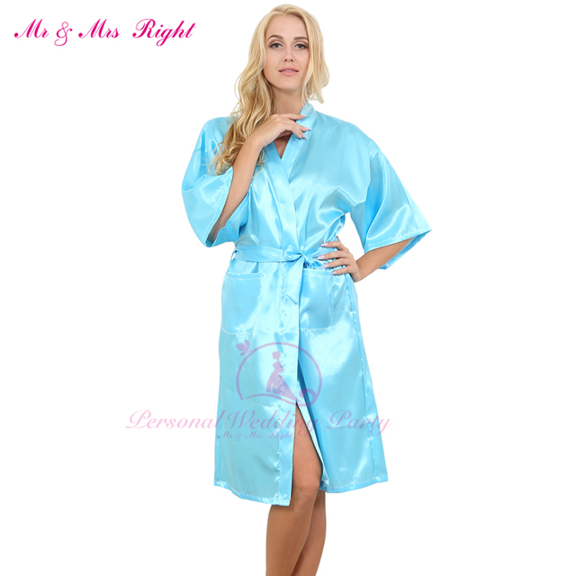 2016 Moda Longo Tamanho Sexy Robe Cor Sólida Roupa De Dormir de Cetim Macio Da Noiva Do Casamento Da Dama de honra Vestidos Da Menina Das Mulheres