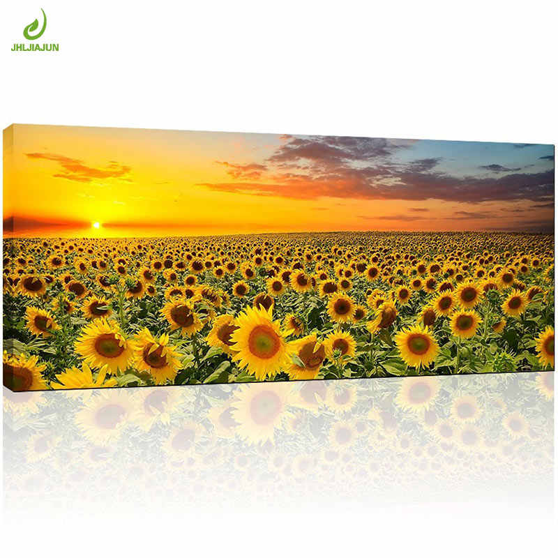 JHLJIAJUN Canvas Painting Brilliant Sunflower Paintings Wall Art Print And Poster Brilliant Sunflower Paintings For Living Room