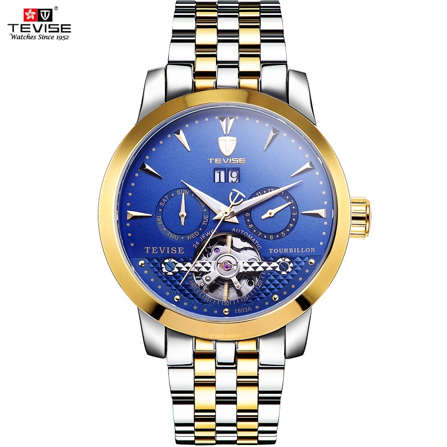 TEVISE Mechanical Watches Complete Calendar Auto Date Luminous 24 Jewel Tourbillon Automatic Watch Men Luxury Clock Men 2017 NEW new mf8 eitan s star icosaix radiolarian puzzle magic cube black and primary limited edition very challenging welcome to buy
